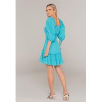 Vestido-Curto-Com-Babados-No-Decote-Azul