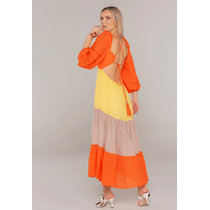 Vestido-Longo-Tricolor-Com-Mangas-Bufantes