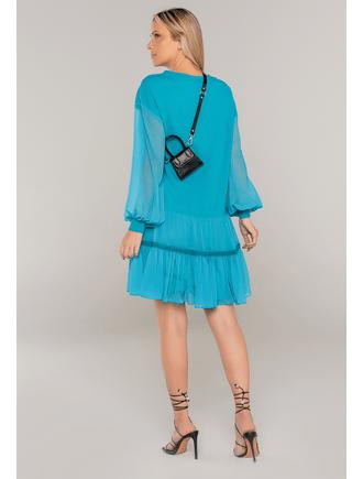 Vestido-Curto-Manga-Longa-Azul